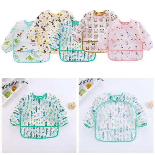 5pcs Cute Baby Bibs Waterproof Long Sleeve Apron Toddler Feeding Smock Bib Infant Feeding Burp Clothes