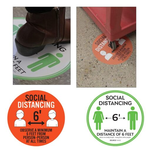 5pcs Non Slip Social Distancing Floor Decal 6 Feet Safety Isolation Distance Signs Marker Ground Sticker 1