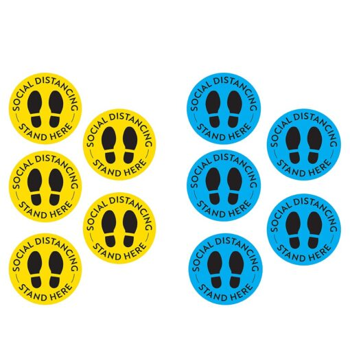 5pcs Social Distancing Floor Decal Safety Distance Signs Marker Ground Stickers Foot Distance Anti Slip Commercial 1