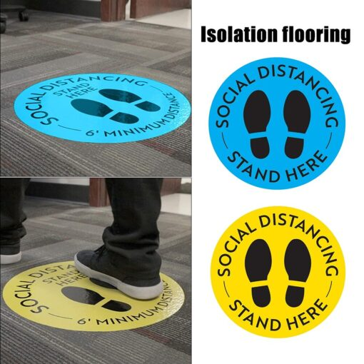 5pcs Social Distancing Floor Decal Safety Isolation Distance Signs Marker Ground Sticker 1
