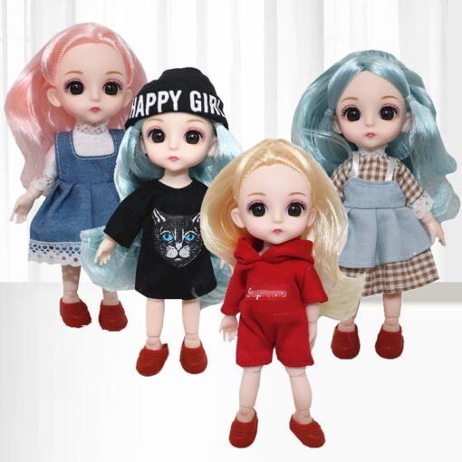 6 Inch Jionts Baby Doll BJD 1 8 Doll with Clothes Fashion Suit 16cm Doll Set 5