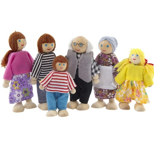 6 People Set Doll Wooden Dolls House Family Miniature Toy For Kid Furniture Funny family member 1