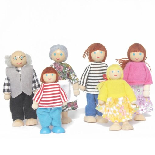6 People Set Doll Wooden Dolls House Family Miniature Toy For Kid Furniture Funny family member 2