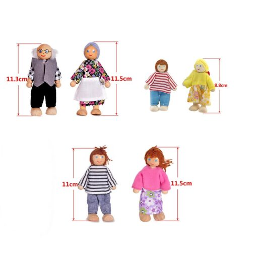 6 People Set Doll Wooden Dolls House Family Miniature Toy For Kid Furniture Funny family member 3