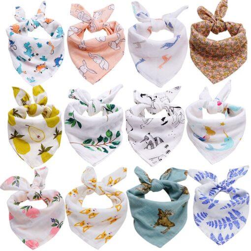 60 60 Muslin Bamboo Cotton Baby Blanket Swaddle Soft Cartoon Animal Print scarf Multifunction Wrap Burp 1