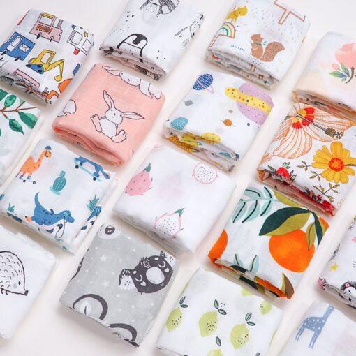 60 60 Muslin Bamboo Cotton Baby Blanket Swaddle Soft Cartoon Animal Print scarf Multifunction Wrap Burp