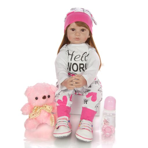 60 cm Newborn Girl Realistic Baby Dolls Cloth Body Stuffed Fashion Reborn Boneca Toy For Toddler 1