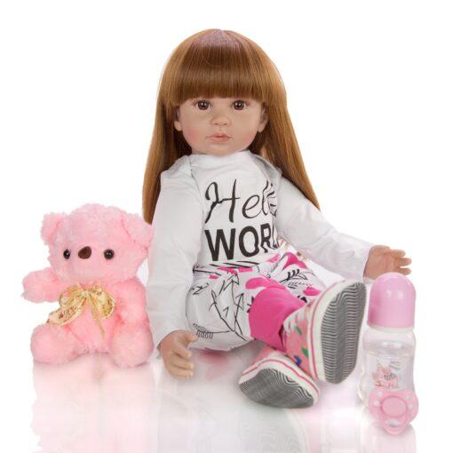 60 cm Newborn Girl Realistic Baby Dolls Cloth Body Stuffed Fashion Reborn Boneca Toy For Toddler 3