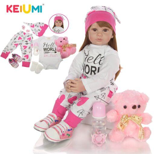 60 cm Newborn Girl Realistic Baby Dolls Cloth Body Stuffed Fashion Reborn Boneca Toy For Toddler