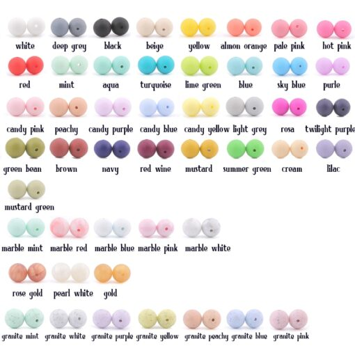 60PCS Baby Teether Silicone Beads 12mm DIY Pacifier Chain Bracelet BPA Free Silicone Bead Baby Teething 1