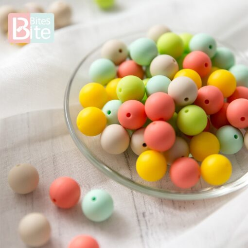 60PCS Baby Teether Silicone Beads 12mm DIY Pacifier Chain Bracelet BPA Free Silicone Bead Baby Teething 2