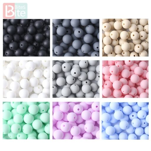 60PCS Baby Teether Silicone Beads 12mm DIY Pacifier Chain Bracelet BPA Free Silicone Bead Baby Teething 3
