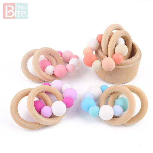 60PCS Baby Teether Silicone Beads 12mm DIY Pacifier Chain Bracelet BPA Free Silicone Bead Baby Teething 4