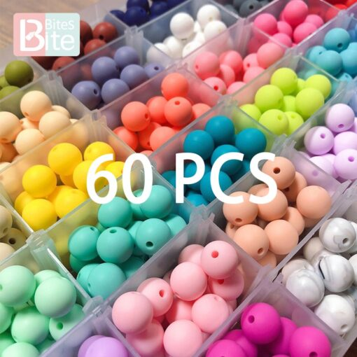 60PCS Baby Teether Silicone Beads 12mm DIY Pacifier Chain Bracelet BPA Free Silicone Bead Baby Teething