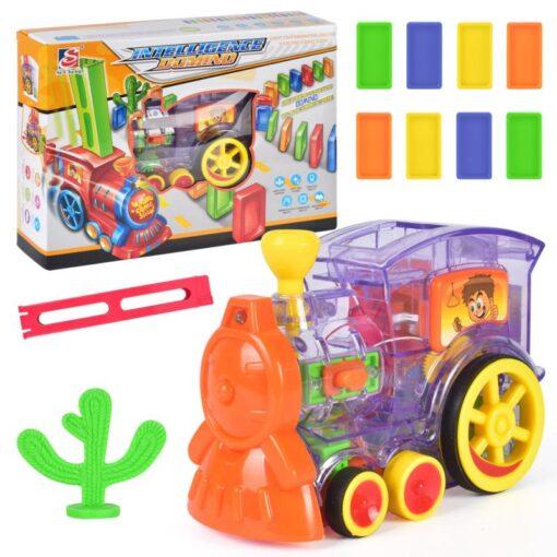 63pcs Electric Domino Car Train Vehicle Model Automatic Set Up Colorful Plastic Children Gift Lights Sound 1