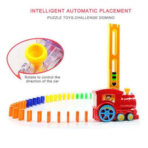 63pcs Electric Domino Car Train Vehicle Model Automatic Set Up Colorful Plastic Children Gift Lights Sound 3