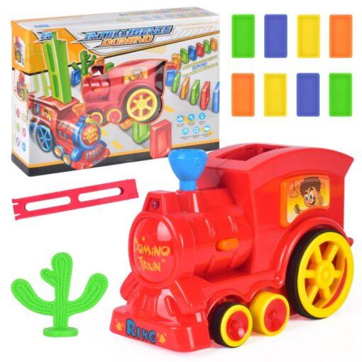 63pcs Electric Domino Car Train Vehicle Model Automatic Set Up Colorful Plastic Children Gift Lights Sound