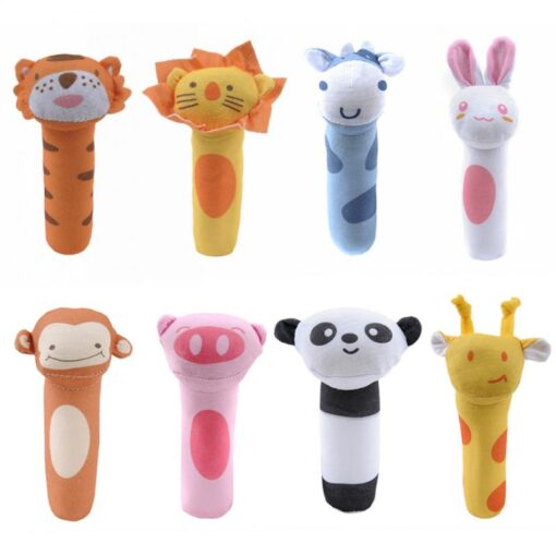 6Colors Animal Plush Handbells Squeeze Rattle Giraffe Monkey Toy Boys Girls Newborn Baby Rattles Soft Sound