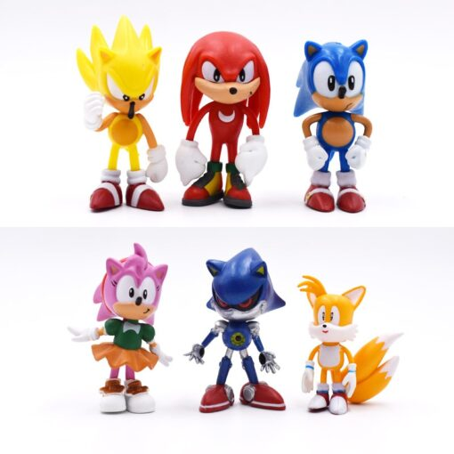6pcs set 7cm Sonic Figures Toy PVC Toy Sonic Shadow Tails Characters Figure toy Free Shipping 1