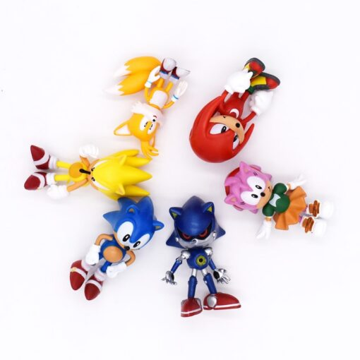 6pcs set 7cm Sonic Figures Toy PVC Toy Sonic Shadow Tails Characters Figure toy Free Shipping 3