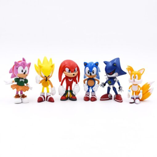 6pcs set 7cm Sonic Figures Toy PVC Toy Sonic Shadow Tails Characters Figure toy Free Shipping