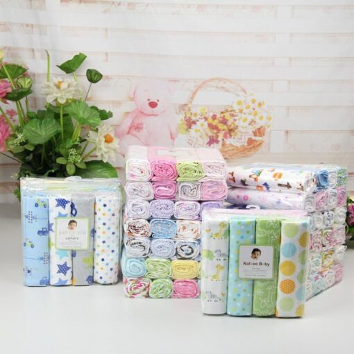 76 76 4Pcs Lot Muslin Cotton Flannel Baby Swaddles Soft Newborn Blankets Baby Diapers Baby Swaddle