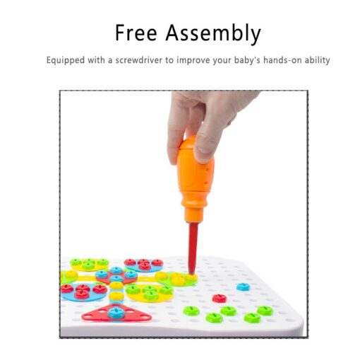 78pcs 3D Electric Drill Screw Nut Building Blocks Sets Design Disassembly Assembly Magic Disk Combination Set 2