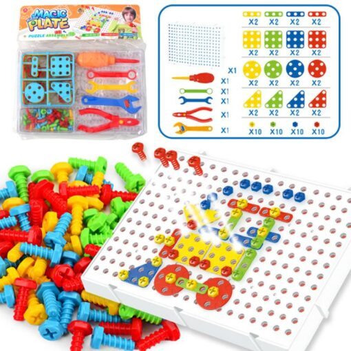 78pcs 3D Electric Drill Screw Nut Building Blocks Sets Design Disassembly Assembly Magic Disk Combination Set