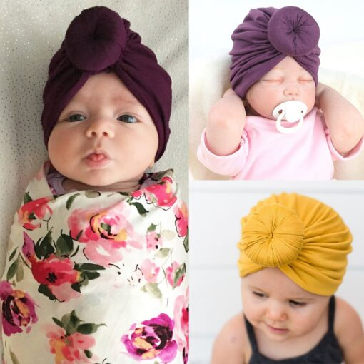 8 Colors Infant Headbands Solid Color Cotton Kont Turban Headwear For Girls Spandx Stretchy Beanie Hat 1