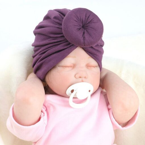 8 Colors Infant Headbands Solid Color Cotton Kont Turban Headwear For Girls Spandx Stretchy Beanie Hat 2