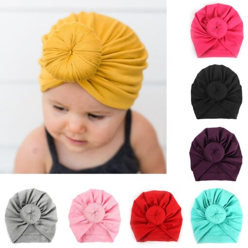 8 Colors Infant Headbands Solid Color Cotton Kont Turban Headwear For Girls Spandx Stretchy Beanie Hat