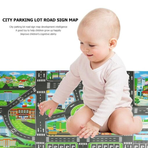 83x58cm Baby Play Mat City Parking Lot Road Signs Roadmap Map Kids Model Cars Climbing Play 1