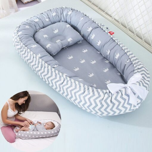 85 50cm Baby Nest Bed with Pillow Portable Crib Travel Bed Infant Toddler Cotton Cradle for 17