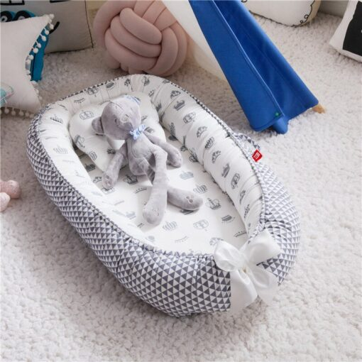 85 50cm Baby Nest Bed with Pillow Portable Crib Travel Bed Infant Toddler Cotton Cradle for 18
