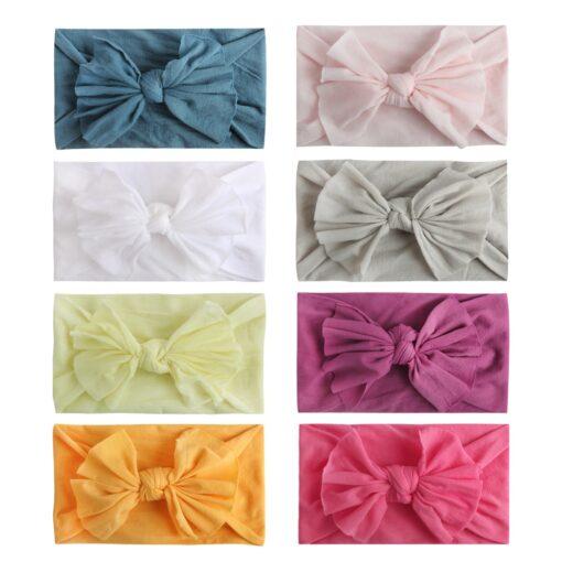8pcs Baby Headbands Flower For Girls Handmade Chiffon Solid Hair Bow Band Baby Hairband Headdress Newborn