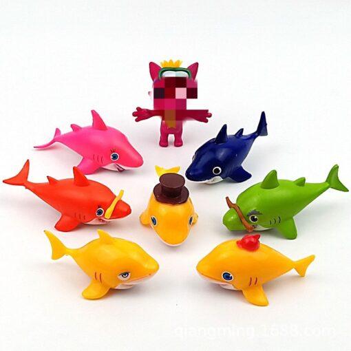 8pcs Baby shark Aquatic creatures Lone raccoon model Action Toy Figures action figure anime figure Best