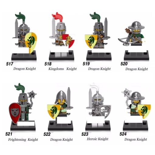 8pcs Medieval Heroic Castle knights Lion Golden Dragon compatible Building Block Rome Warrior knight model toy