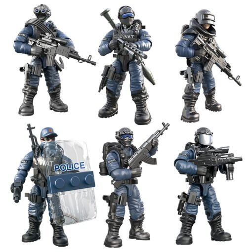 8pcs Military series Action Figures Building Blocks Alpha Force SWAT Army Soldier Kit Model Small Brick 5