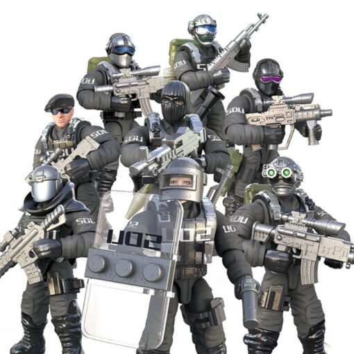 8pcs Military series Action Figures Building Blocks Alpha Force SWAT Army Soldier Kit Model Small Brick