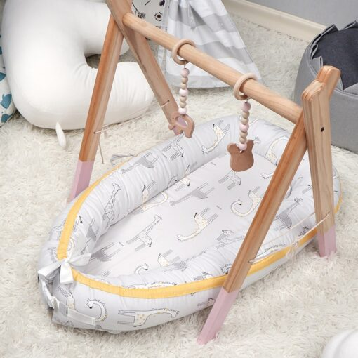 90 50cm Baby Nest Bed with Pillow Portable Crib Travel Bed Infant Toddler Cotton Cradle for 5