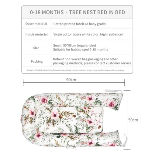 90 50cm Baby Nest Bed with Pillow Portable Crib Travel Bed Infant Toddler Cotton Cradle for 9