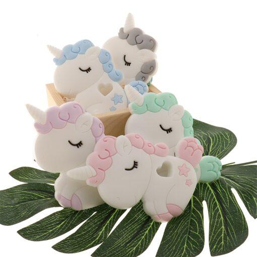 ATOB 1Pc silicone teether unicorn silicon Food Grade Baby Teething Toys bpa free bear safe baby 2
