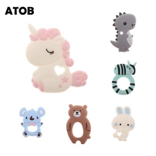 ATOB 1Pc silicone teether unicorn silicon Food Grade Baby Teething Toys bpa free bear safe baby