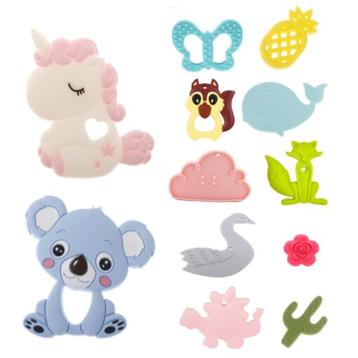 ATOB Safe Silicone Baby Teether Toy Bpa Free Unicorn Chew Toys Teething Rings Teethers For Babies