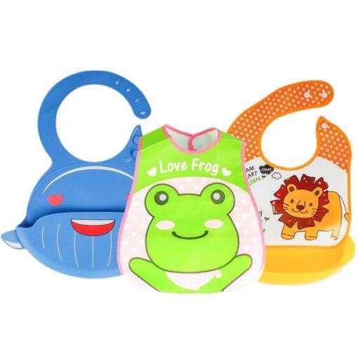 Adjustable Baby Bibs EVA Waterproof Lunch Feeding Bibs Baby Cartoon Feeding Cloth Children Baby Apron Babador