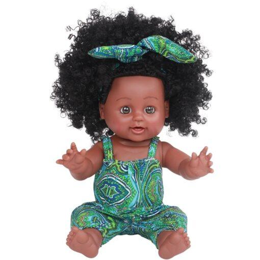 American Reborn Black Doll Handmade Silicone Vinyl Baby Soft Lifelike Newborn Baby Doll Toy Girl Christmas 2