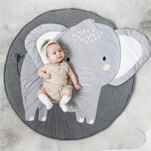 Animal Elephant Rug Print Children Crawling Mat 100 Organic Cotton Children s Room Decoration Game Cushion 1