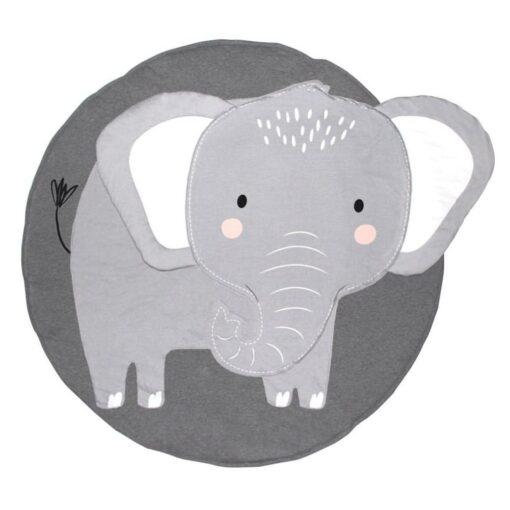 Animal Elephant Rug Print Children Crawling Mat 100 Organic Cotton Children s Room Decoration Game Cushion 4