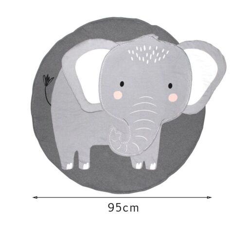 Animal Elephant Rug Print Children Crawling Mat 100 Organic Cotton Children s Room Decoration Game Cushion 5