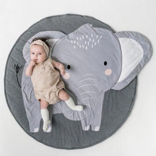 Animal Elephant Rug Print Children Crawling Mat 100 Organic Cotton Children s Room Decoration Game Cushion